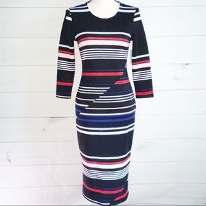 NWT Belle Sky Color Block Striped Bodycon Dress